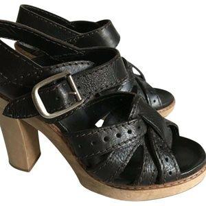 CHLOE Block Heel leather Sandals Size 37 Msrp $790